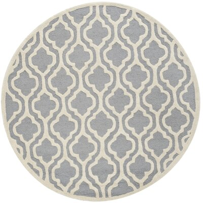 Martins Silver / Ivory Area Rug Rug Size: 4 Round