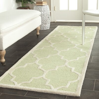 Charlenne Hand-Tufted Wool Light Green/Ivory Area Rug Rug Size: Runner 26 x 8