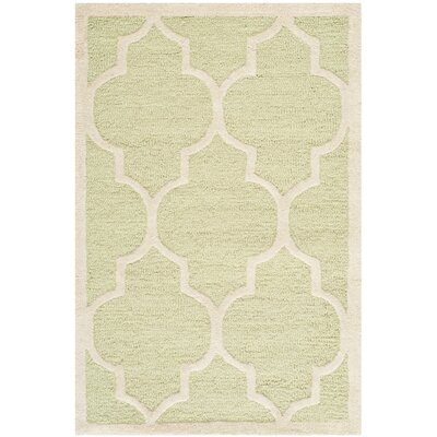Charlenne Hand-Tufted Wool Light Green/Ivory Area Rug Rug Size: Rectangle 26 x 4