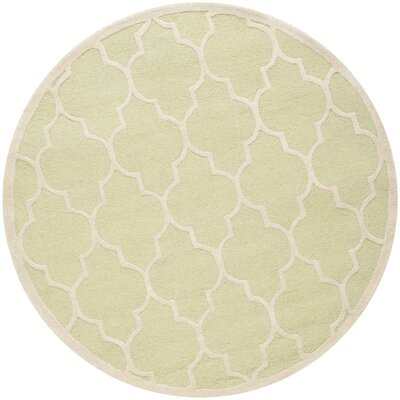 Charlenne Hand-Tufted Wool Light Green/Ivory Area Rug Rug Size: Round 6