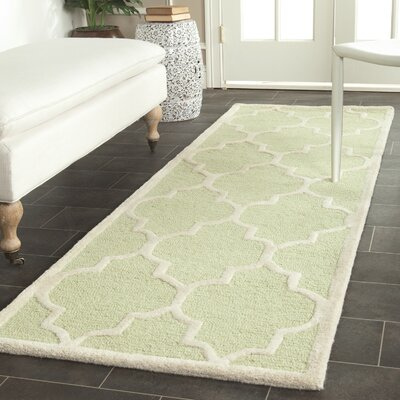 Martins Light Green / Ivory Area Rug Rug Size: Runner 26 x 12