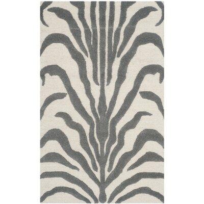 Martins Ivory & Dark Gray Area Rug Rug Size: 4 x 6