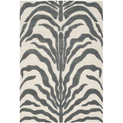 Martins Ivory & Dark Gray Area Rug Rug Size: 3 x 5