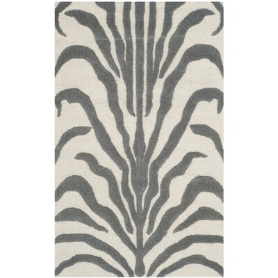 Roloff Ivory & Dark Gray Area Rug Rug Size: Rectangle 2 x 3
