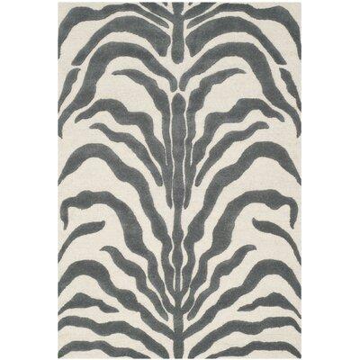 Martins Ivory & Dark Gray Area Rug Rug Size: 6 x 9