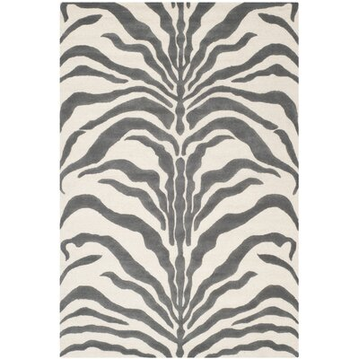 Martins Ivory & Dark Gray Area Rug Rug Size: 6 x 9