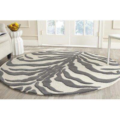 Roloff Ivory & Dark Gray Area Rug Rug Size: Round 6