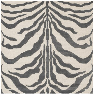 Martins Ivory & Dark Gray Area Rug Rug Size: Square 6