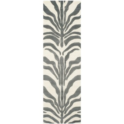 Martins Ivory & Dark Gray Area Rug Rug Size: Runner 26 x 8