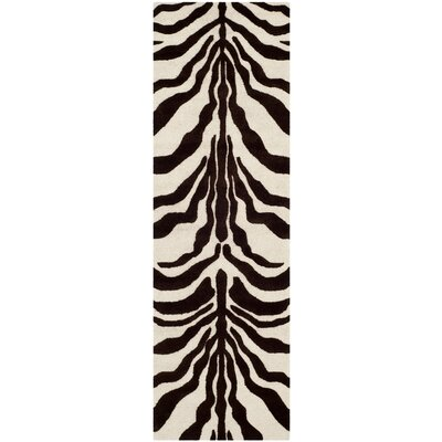 Roloff Hand-Tufted Wool Ivory/Brown Area Rug Rug Size: Rectangle 6 x 9