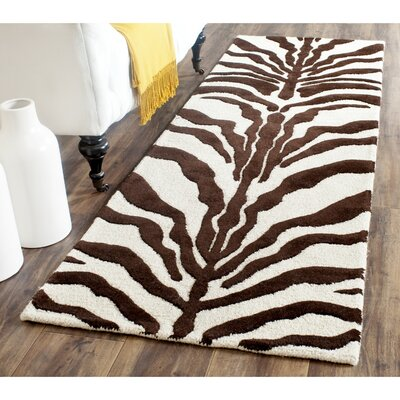 Roloff Hand-Tufted Wool Ivory/Brown Area Rug Rug Size: Runner 26 x 8