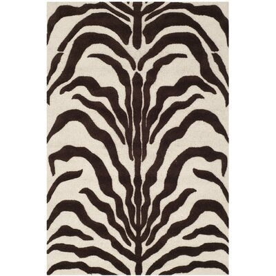 Roloff Hand-Tufted Wool Ivory/Brown Area Rug Rug Size: Rectangle 8 x 10