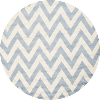 Charlenne Hand-Tufted Wool Light Blue/Ivory Area Rug Rug Size: 6 Round