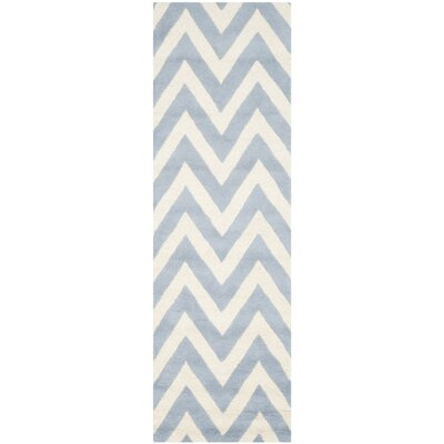 Martins Light Blue/Ivory Area Rug Rug Size: Runner 26 x 12
