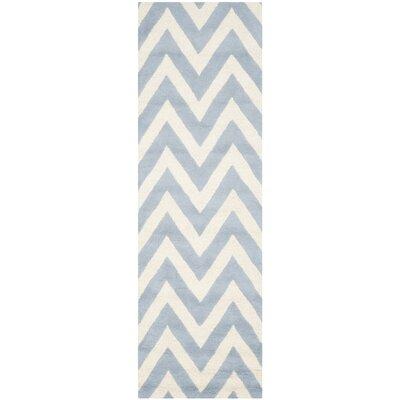 Martins Light Blue/Ivory Area Rug Rug Size: Runner 26 x 8