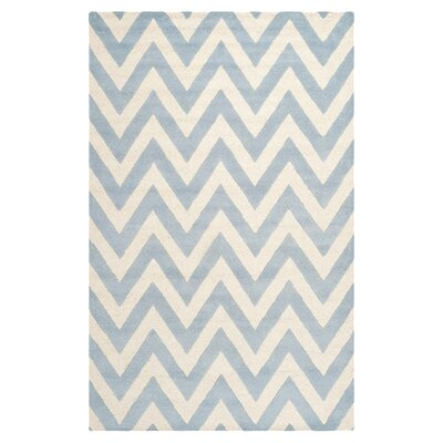 Charlenne Wool Light Blue/Ivory Area Rug Rug Size: 5 x 8