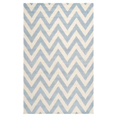 Charlenne Wool Light Blue/Ivory Area Rug Rug Size: 6 x 9