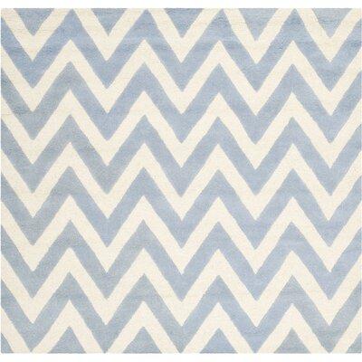 Charlenne Wool Light Blue/Ivory Area Rug Rug Size: 8 x 8