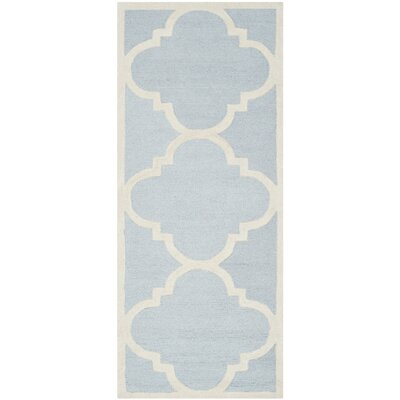 Charlenne Hand-Tufted Light Blue/Ivory Area Rug Rug Size: Runner 26 x 8