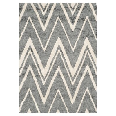 Martins Hand-Tufted Wool Gray/Ivory Area Rug Rug Size: Runner 26 x 10