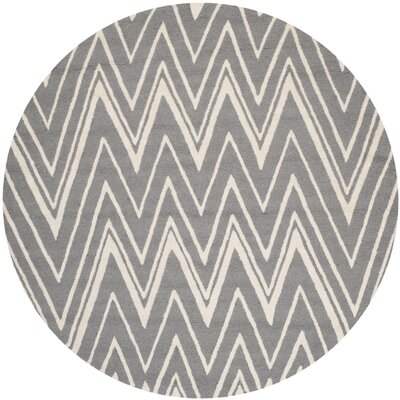 Martins Tufted Wool Grey & Silver Area Rug Rug Size: Round 6