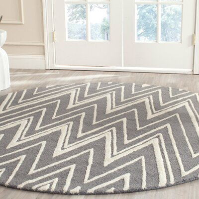 Martins H-Tufted Wool Gray Area Rug Rug Size: Round 4