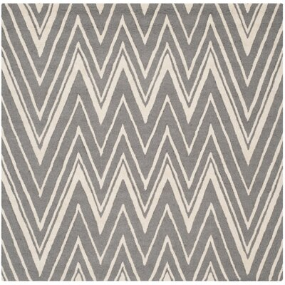 Martins H-Tufted Wool Gray Area Rug Rug Size: Square 6