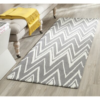 Martins Tufted Wool Grey & Silver Area Rug Rug Size: 2 x 3