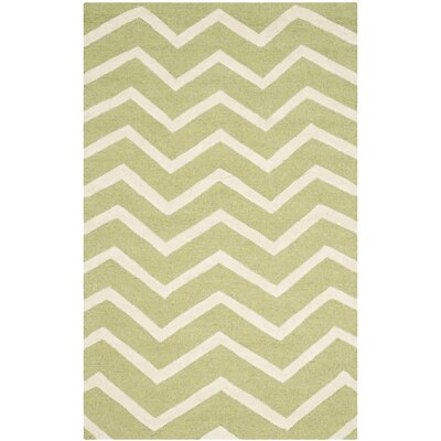 Charlenne Hand-Tufted Wool Green/Ivory Area Rug Rug Size: Rectangle 2 x 3