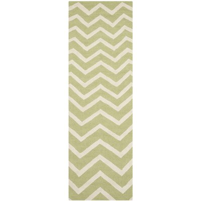 Charlenne Hand-Tufted Wool Green/Ivory Area Rug Rug Size: Runner 26 x 8
