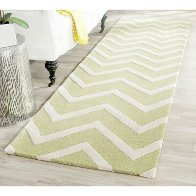 Martins Green/Ivory Area Rug Rug Size: Runner 26 x 8