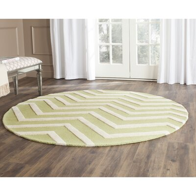Martins Green/Ivory Area Rug Rug Size: Round 6
