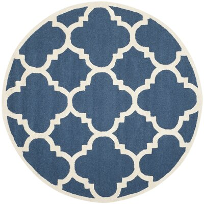 Charlenne Hand-Tufted Navy/Ivory Area Rug Rug Size: Rectangle 26 x 4
