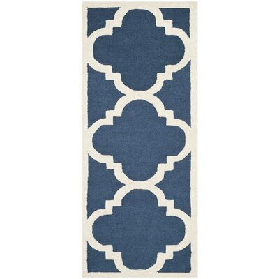 Charlenne Hand-Tufted Navy/Ivory Area Rug Rug Size: Runner 26 x 6