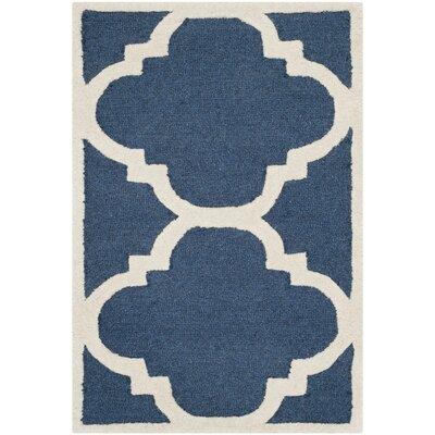 Charlenne Navy/Ivory Area Rug Rug Size: 4 x 6