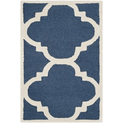 Charlenne Navy/Ivory Area Rug Rug Size: 6 x 9