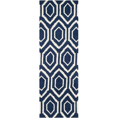 Wilkin Hand-Tufted Wool Dark Blue/Ivory Area Rug Rug Size: Runner 23 x 9