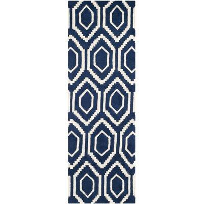 Wilkin Dark Blue Rug Rug Size: Runner 23 x 9
