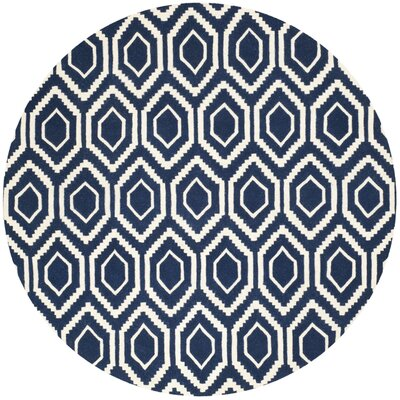 Wilkin Hand-Tufted Wool Dark Blue/Ivory Area Rug Rug Size: Round 7