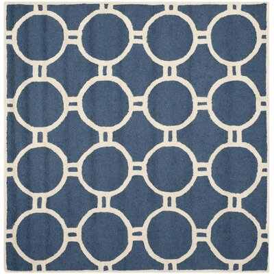 Martins Navy Blue/Ivory Area Rug Rug Size: Square 8
