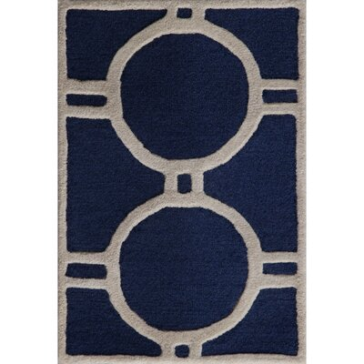 Martins Navy Blue/Ivory Area Rug Rug Size: 2'6