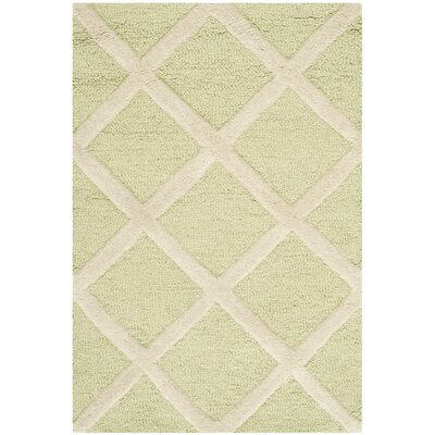 Martins Light Green & Ivory Area Rug Rug Size: 4 x 6