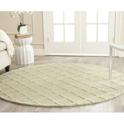 Martins Light Green & Ivory Area Rug Rug Size: Round 6