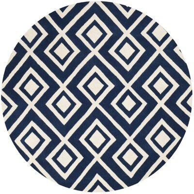 Wilkin Hand-Tufted Wool Dark Blue/Ivory Rug Rug Size: Round 7