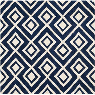 Wilkin Dark Blue Rug Rug Size: Square 7