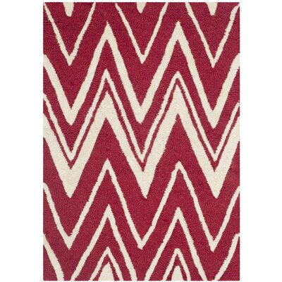 Martins Red/Ivory Area Rug Rug Size: 2 x 3