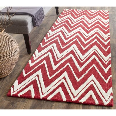 Martins Red/Ivory Area Rug Rug Size: Runner 26 x 8