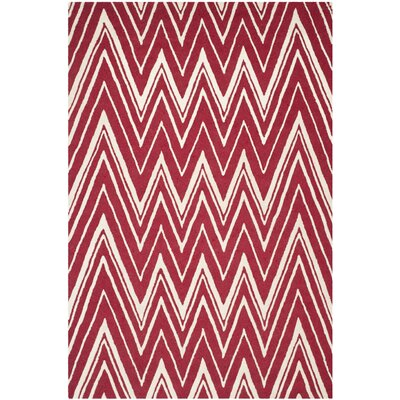 Martins Red/Ivory Area Rug Rug Size: 3 x 5