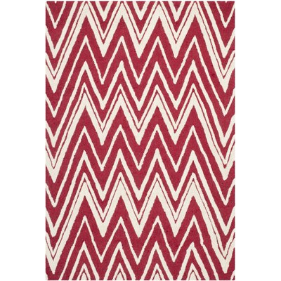 Martins Red/Ivory Area Rug Rug Size: 4 x 6