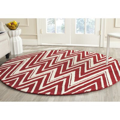 Martins Hand-Tufted Wool Red/Ivory Area Rug Rug Size: Round 6